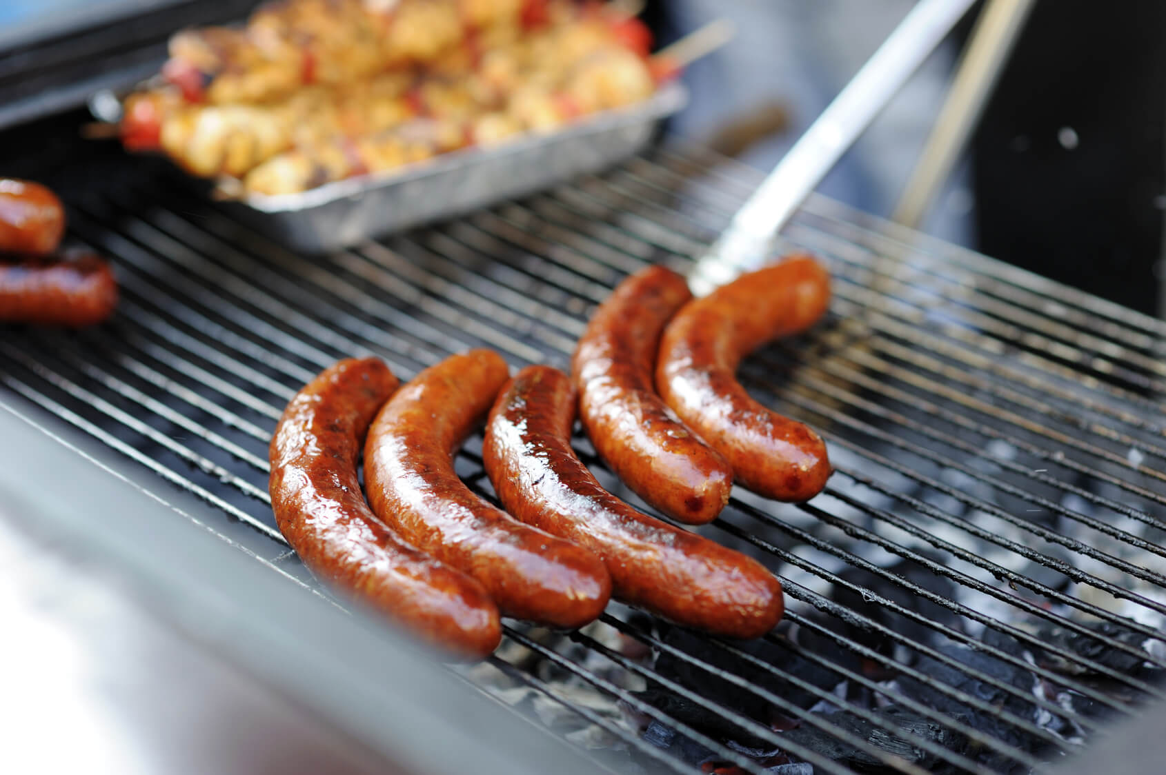 Delicious fresh grilled sausages